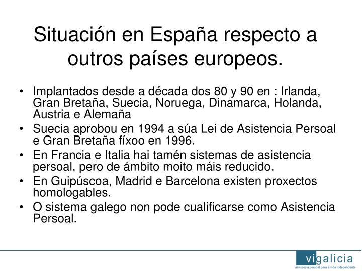 Situación en España respecto a outros países europeos.