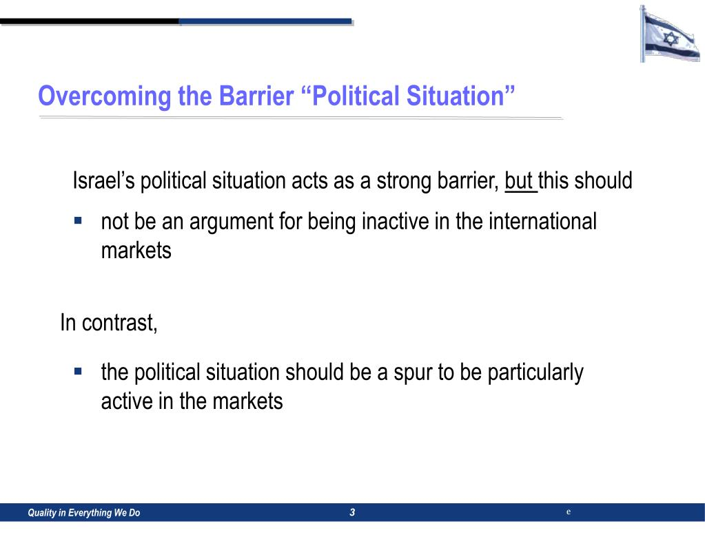 "Overcoming the Barrier ""Political Situation"""