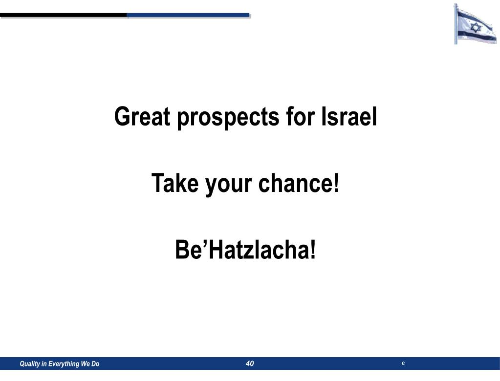 Great prospects for Israel