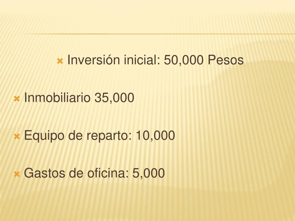 Inversión inicial: 50,000 Pesos