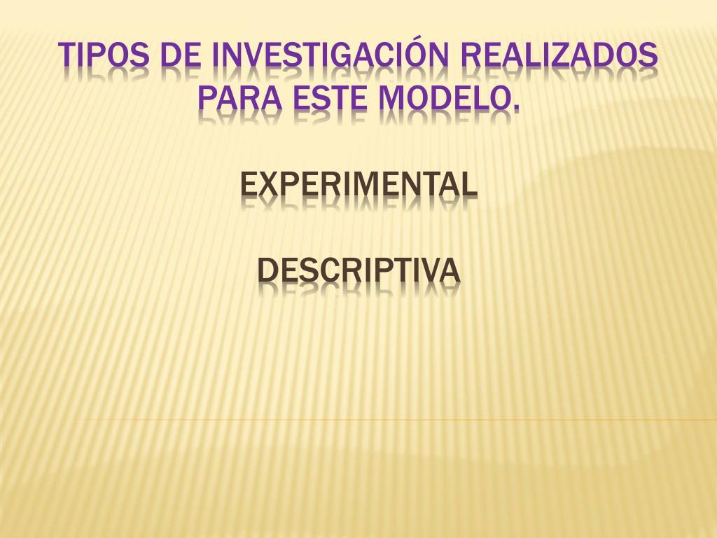 Tipos de investigación realizados para este modelo.