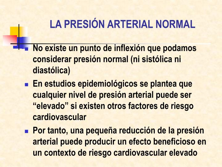 LA PRESIÓN ARTERIAL NORMAL