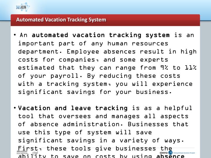 Automated vacation tracking system