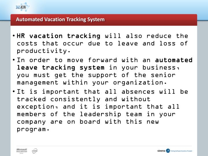 Automated vacation tracking system3