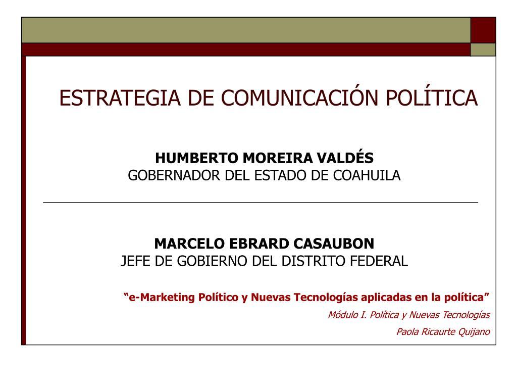 ESTRATEGIA DE COMUNICACIÓN POLÍTICA