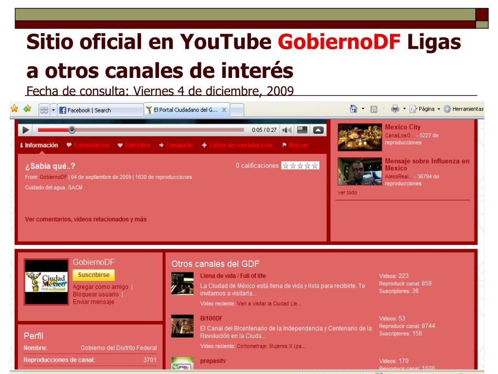 Sitio oficial en YouTube
