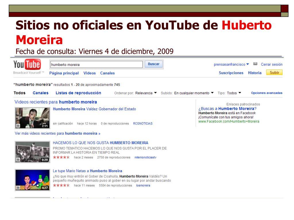 Sitios no oficiales en YouTube de