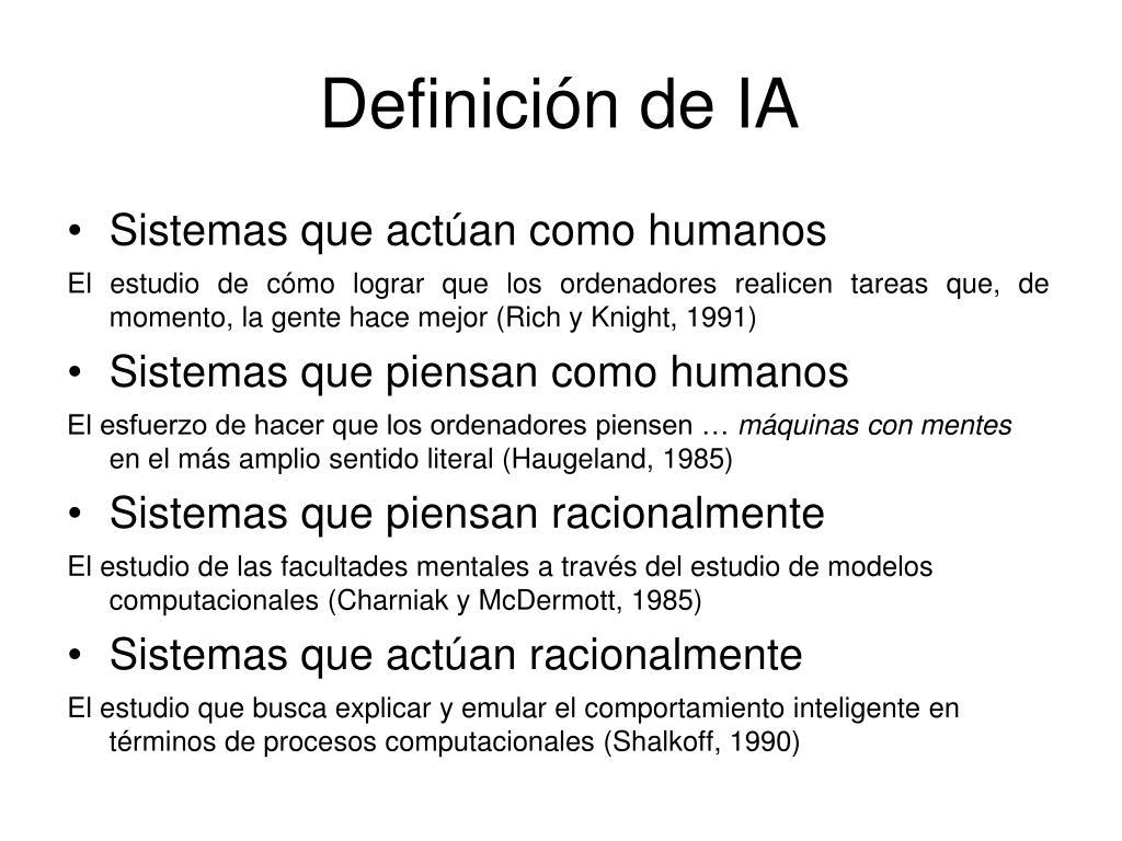 Definición de IA
