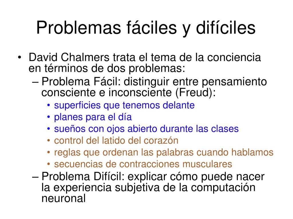 Problemas fáciles y difíciles
