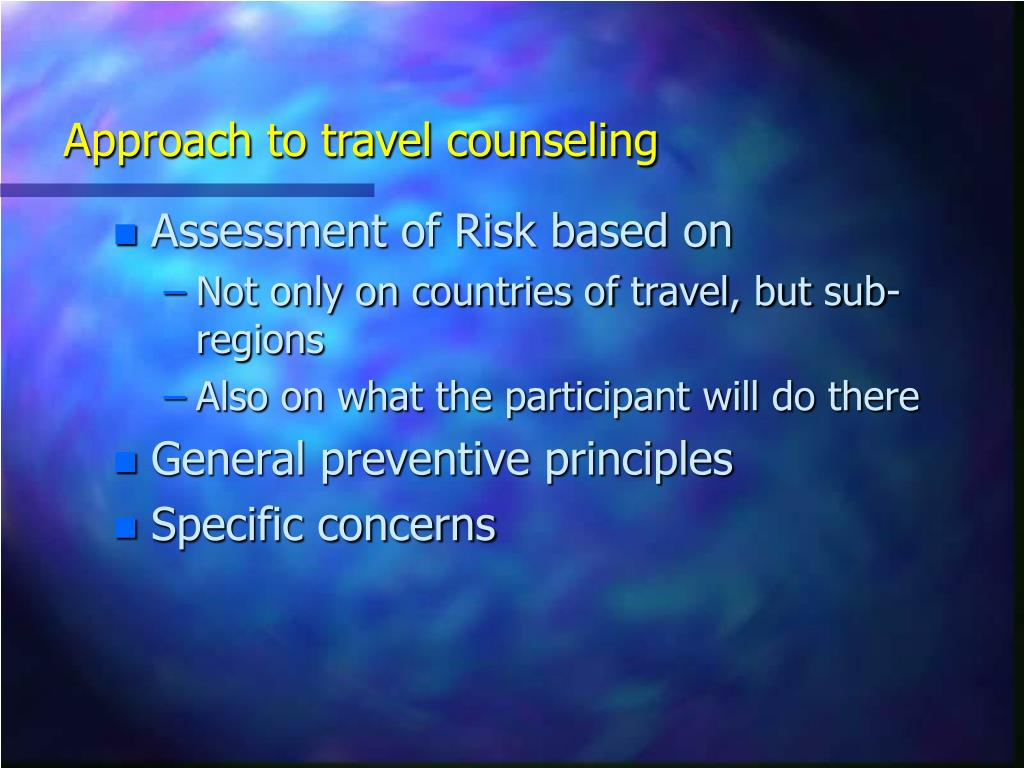 Approach to travel counseling