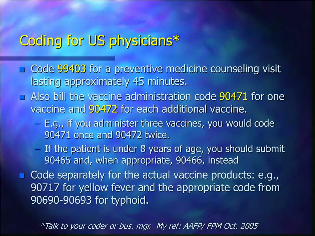 Coding for US physicians*