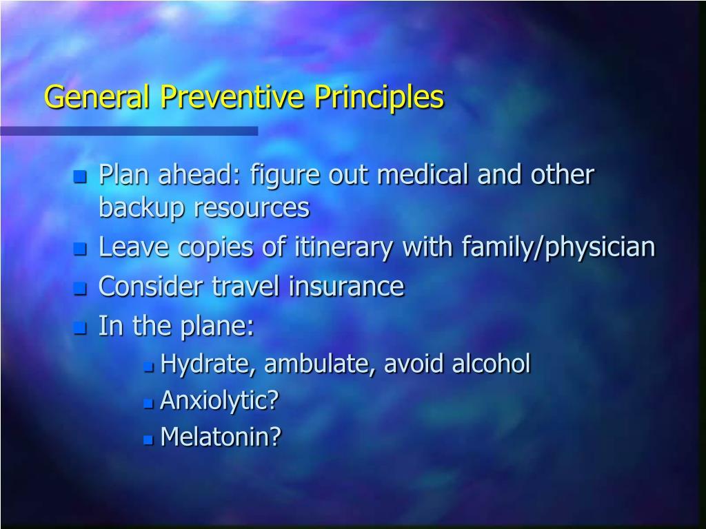 General Preventive Principles