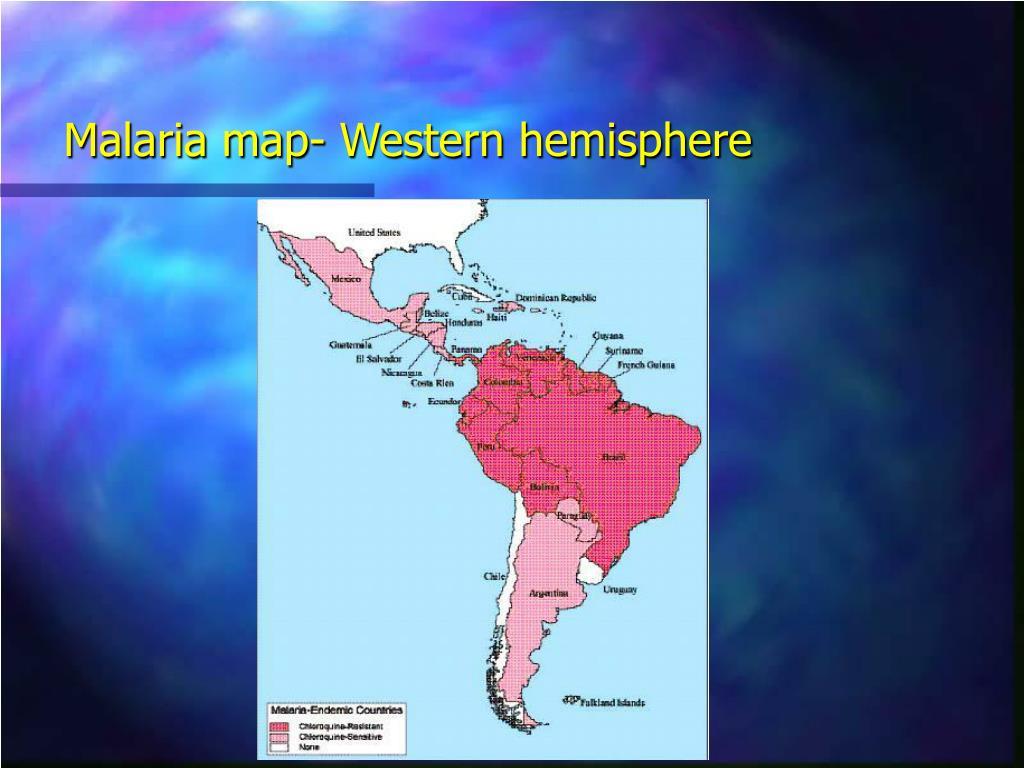 Malaria map- Western hemisphere
