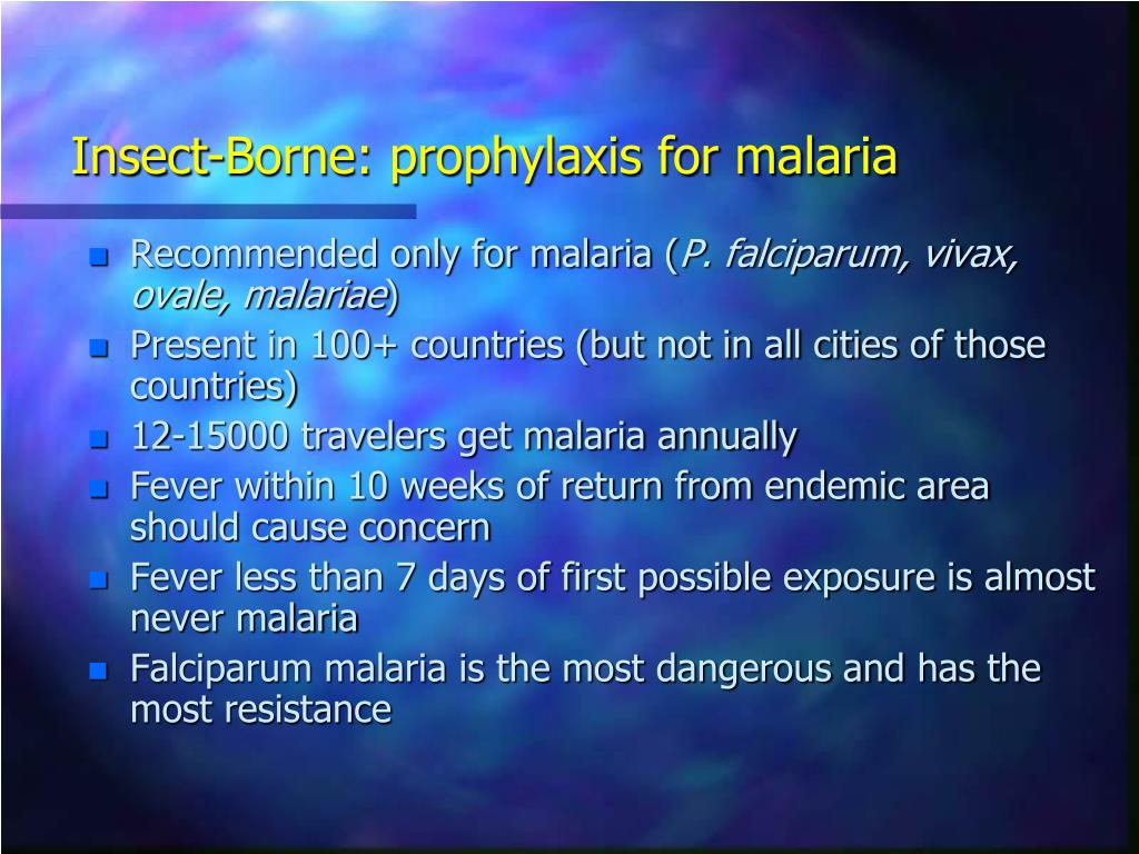 Insect-Borne: prophylaxis for malaria