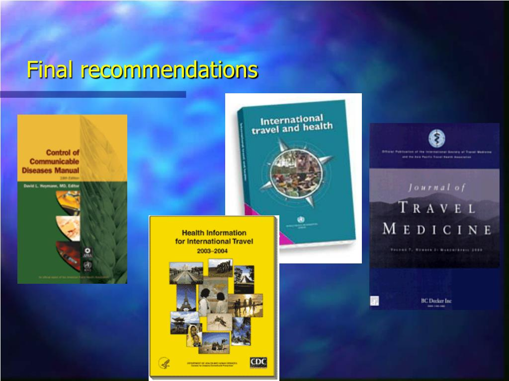 Final recommendations