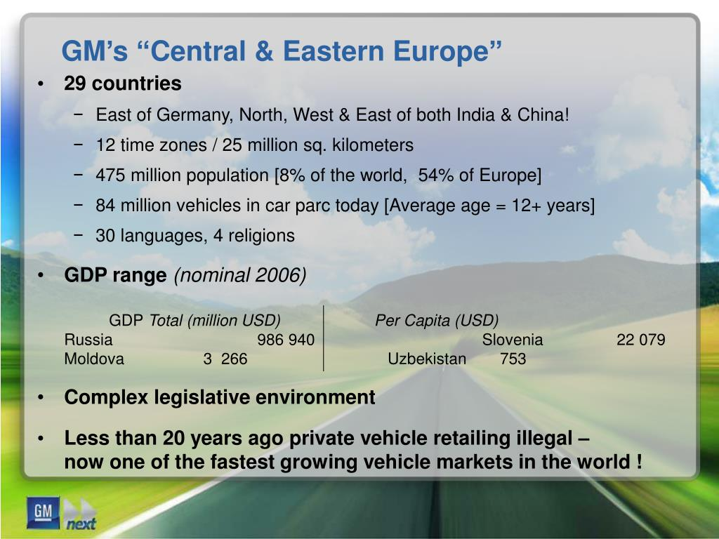 "GM's ""Central & Eastern Europe"""