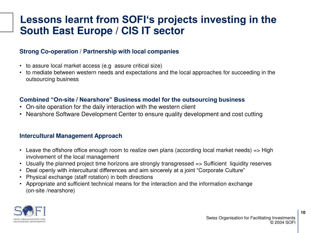 Lessons learnt from SOFI's projects investing in the South East Europe / CIS IT sector