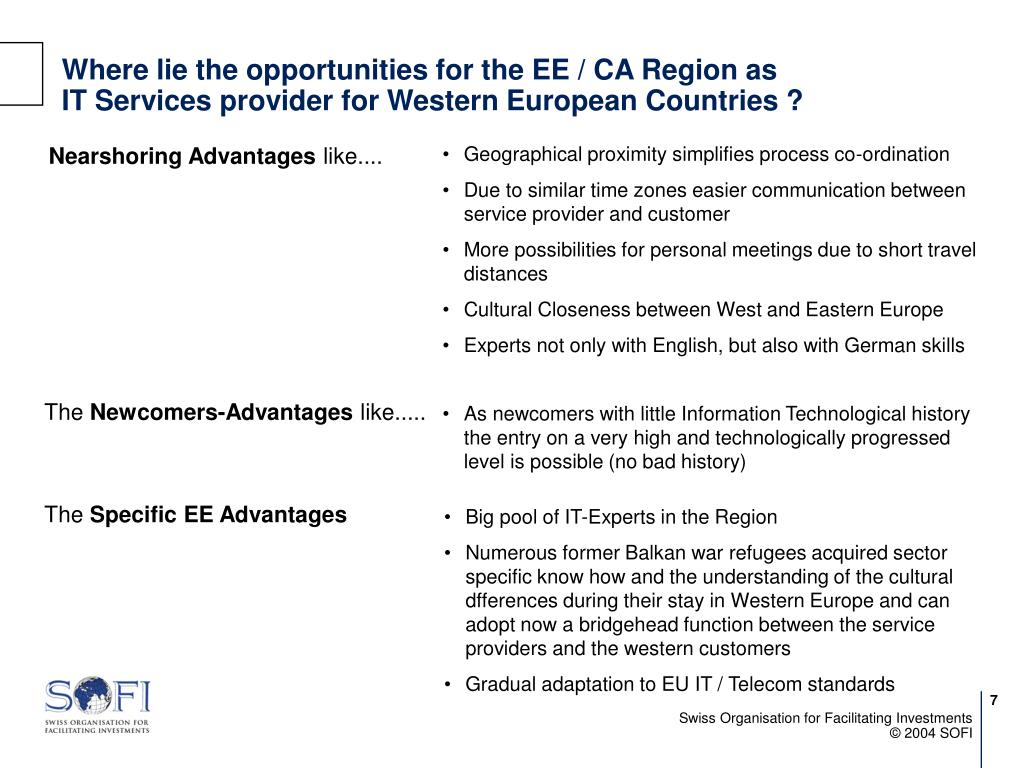 Where lie the opportunities for the EE / CA Region as