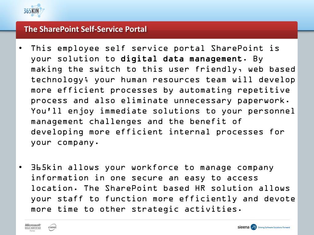 The SharePoint Self-Service Portal