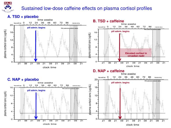 Sustained low-dose caffeine effects on plasma cortisol profiles