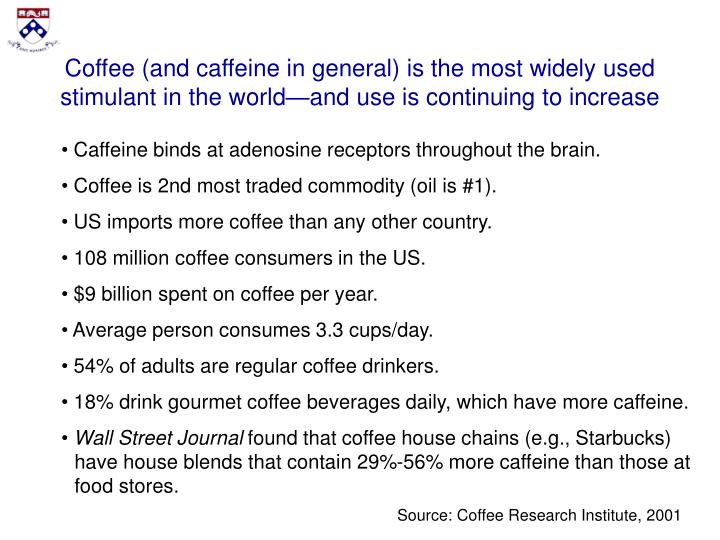Coffee (and caffeine in general) is the most widely used stimulant in the world—and use is continu...