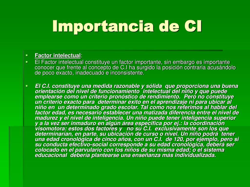 Importancia de CI