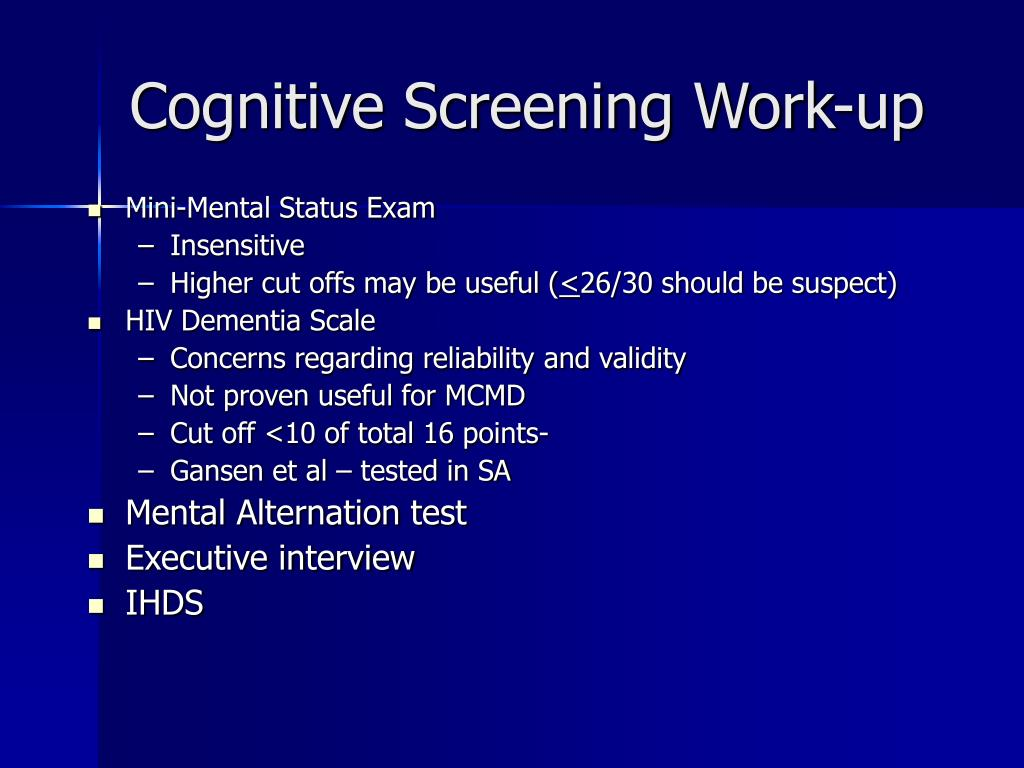 Cognitive Screening Work-up