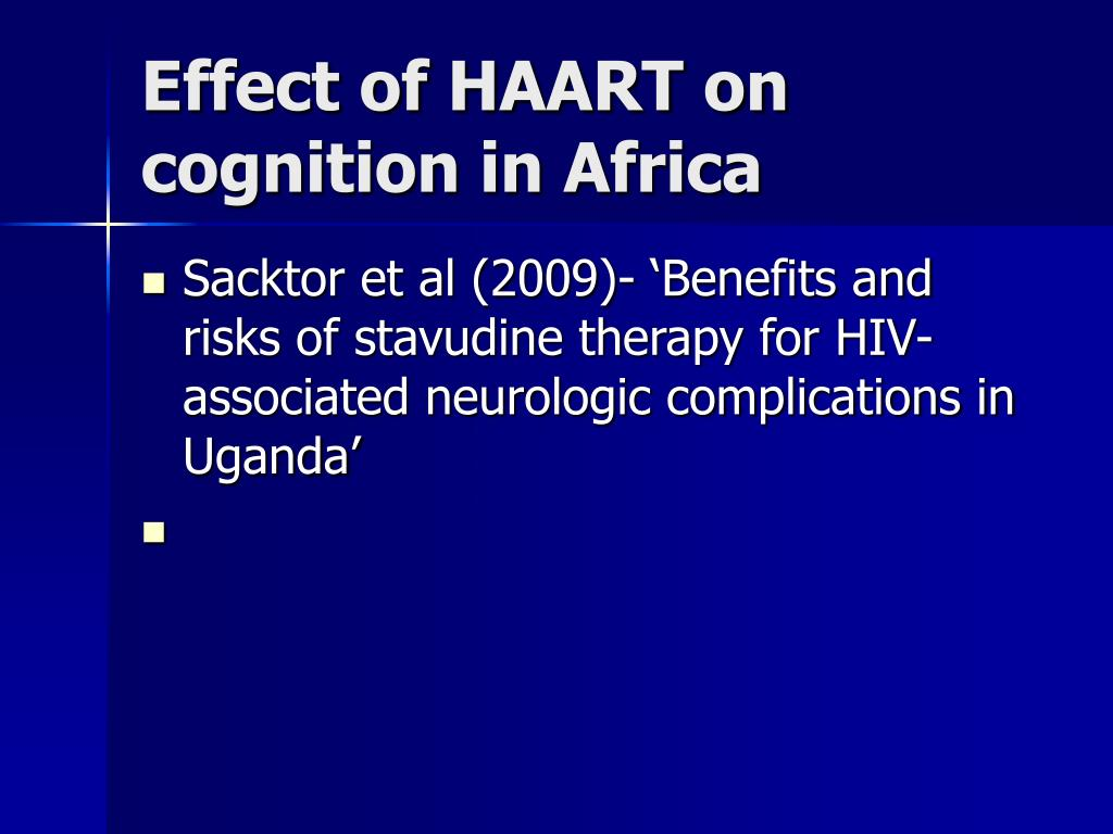 Effect of HAART on cognition in Africa
