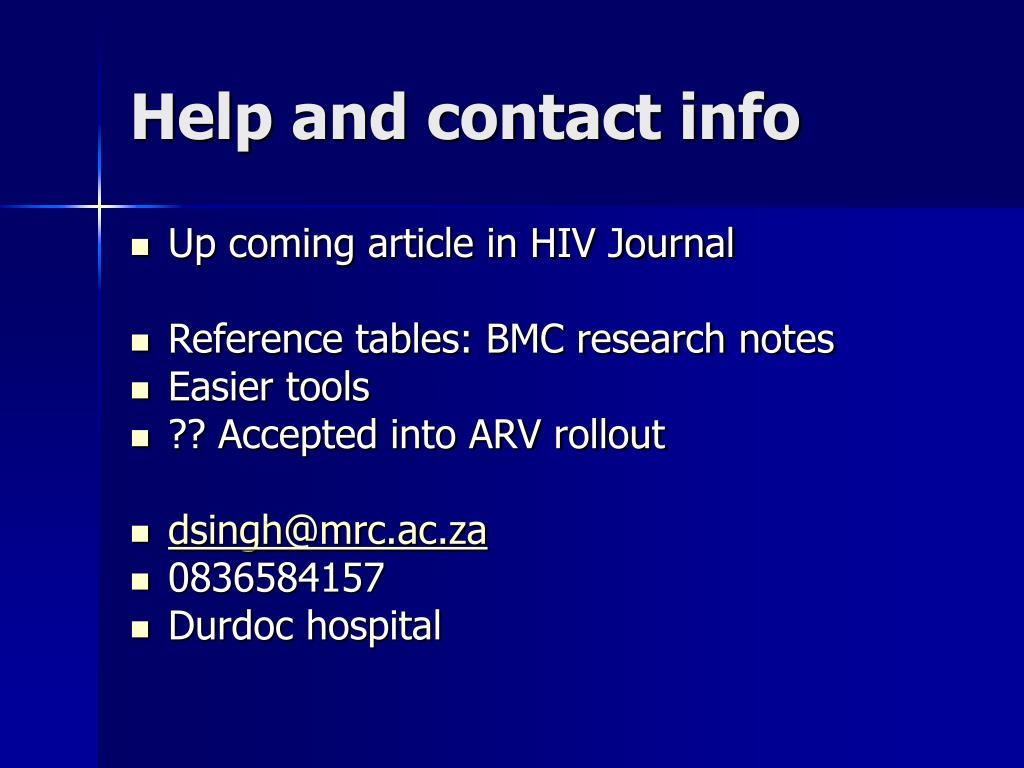 Help and contact info