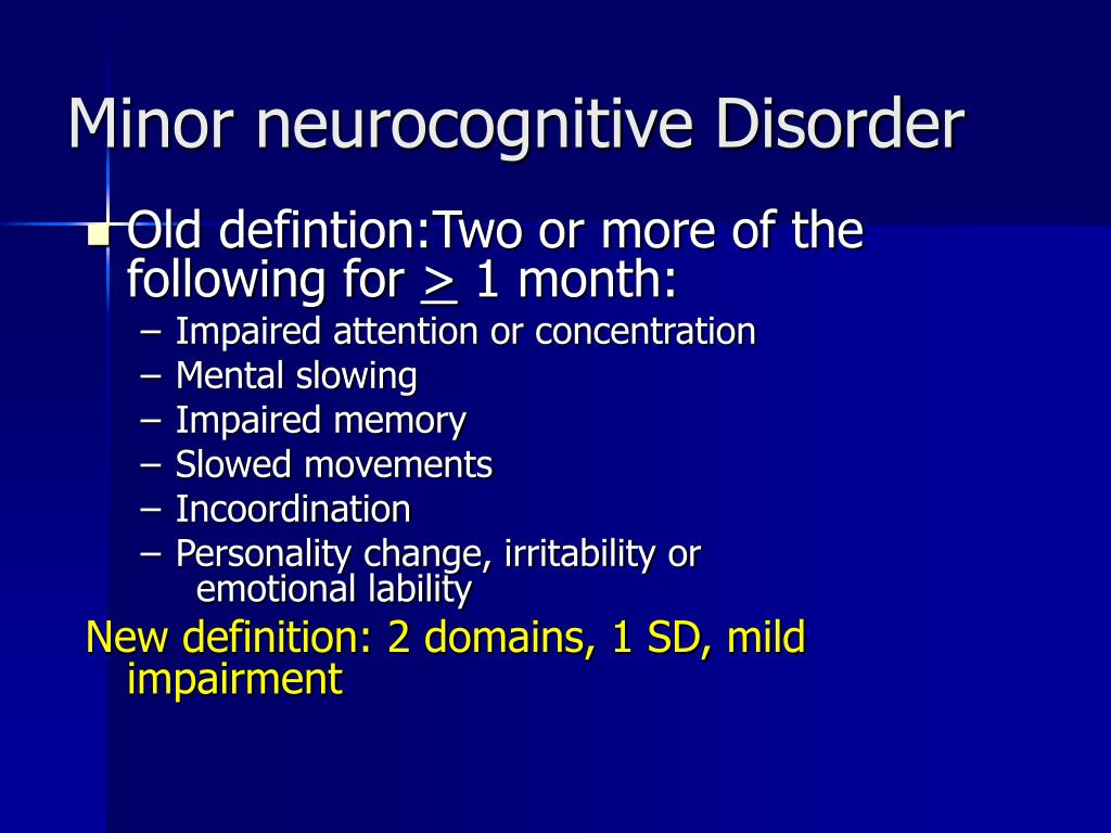 Minor neurocognitive Disorder