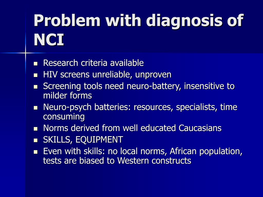 Problem with diagnosis of NCI