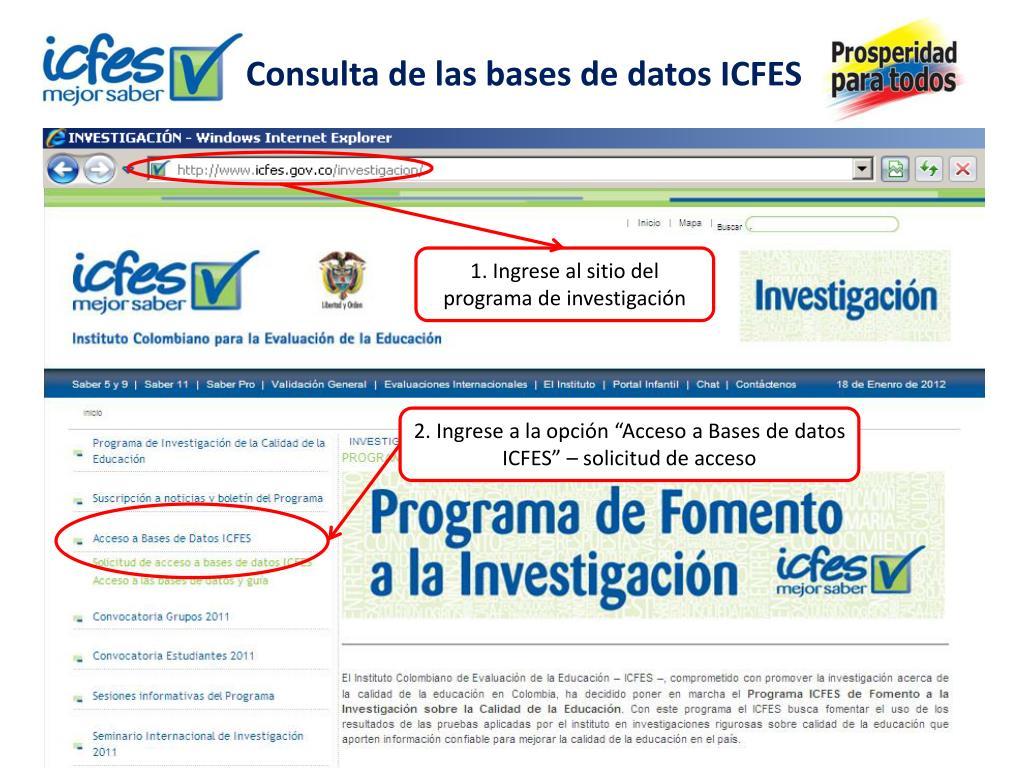 Consulta de las bases de datos ICFES