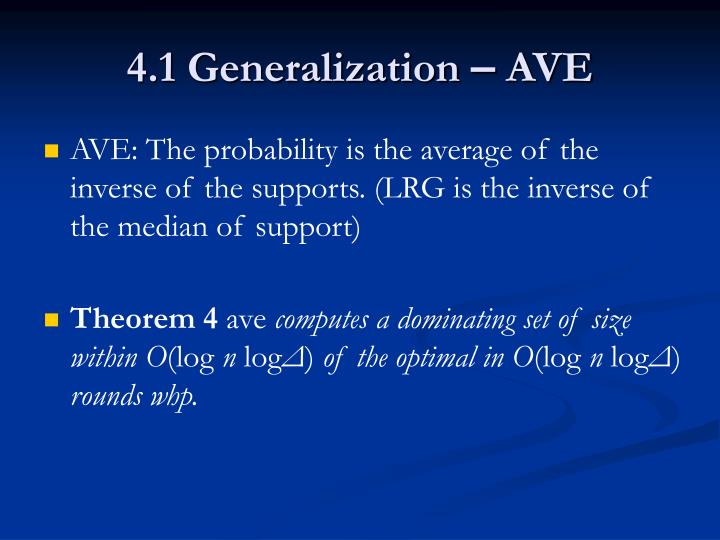 4.1 Generalization