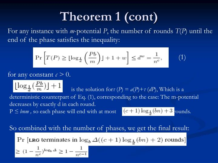 Theorem 1 (cont)