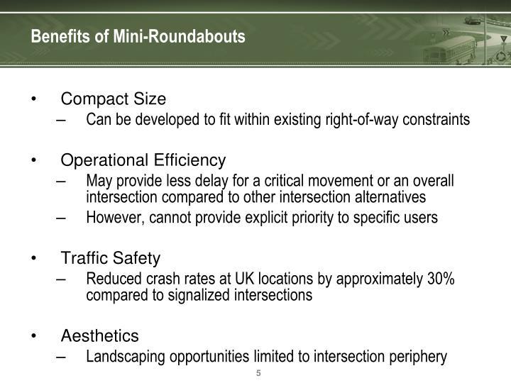Benefits of Mini-Roundabouts
