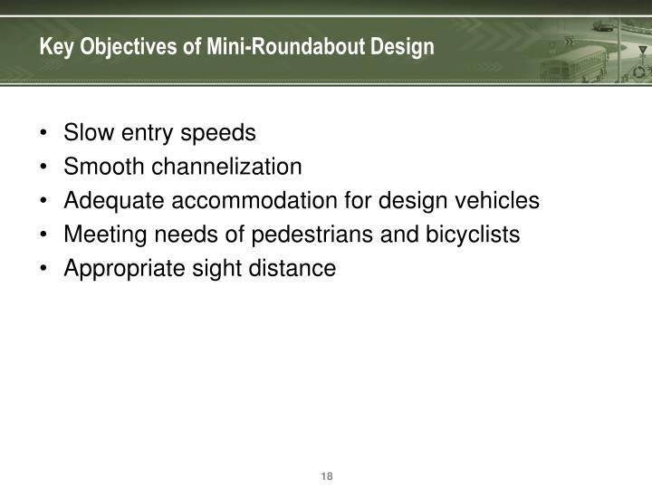 Key Objectives of Mini-Roundabout Design