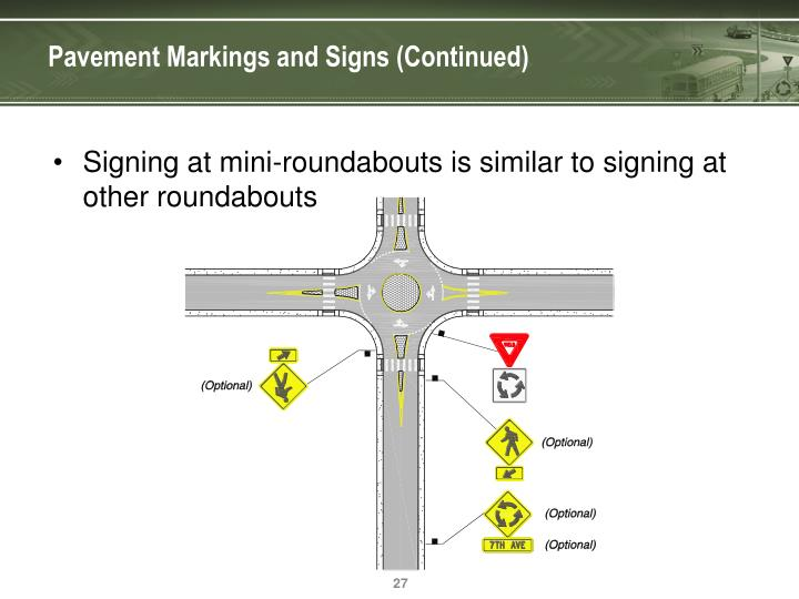 Pavement Markings and Signs (Continued)