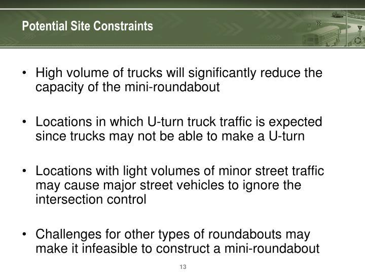 Potential Site Constraints