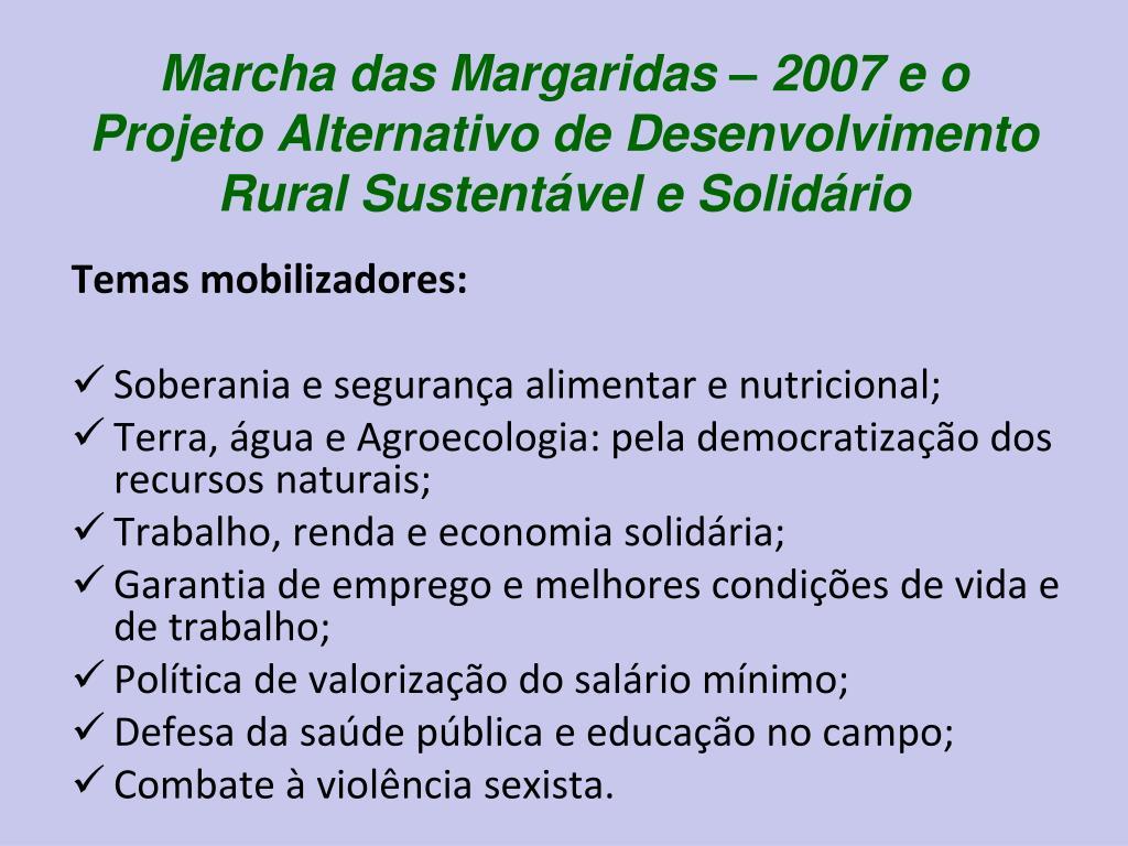 Marcha das Margaridas – 2007 e o Projeto Alternativo de Desenvolvimento Rural Sustentável e Solidário