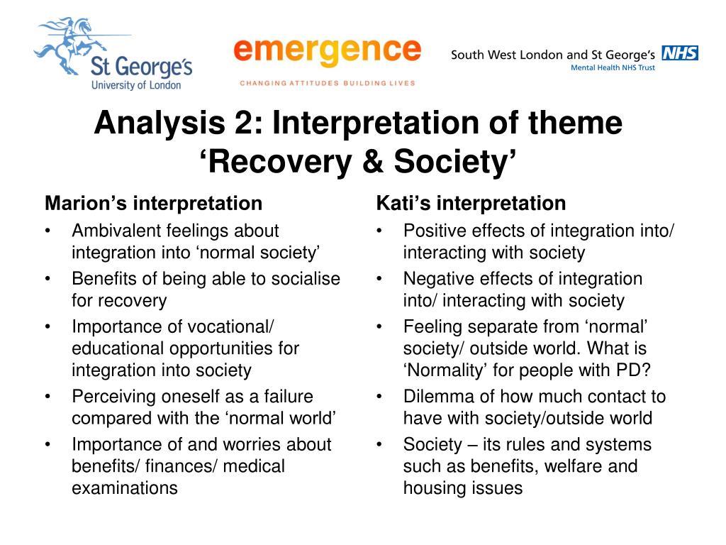 Analysis 2: Interpretation of theme