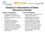 analysis 2 interpretation of theme recovery society