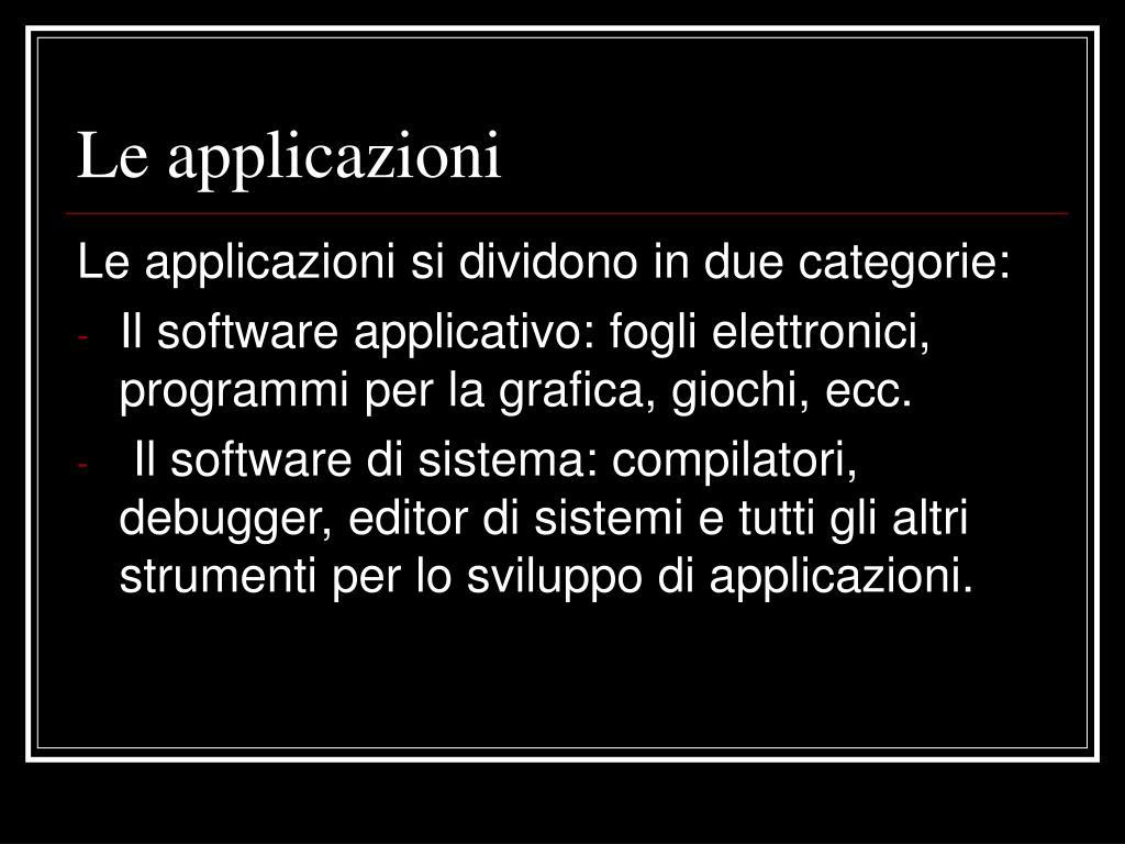 Le applicazioni