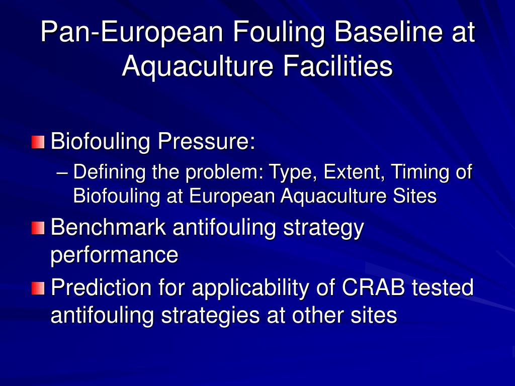 Pan-European Fouling Baseline at Aquaculture Facilities