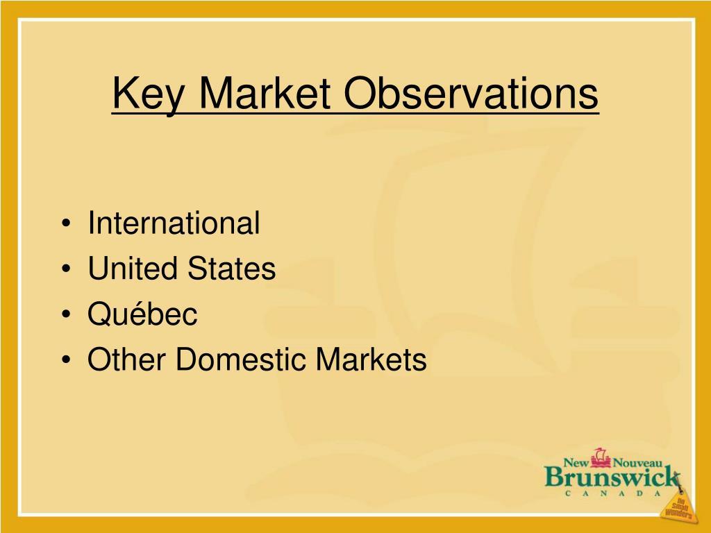 Key Market Observations