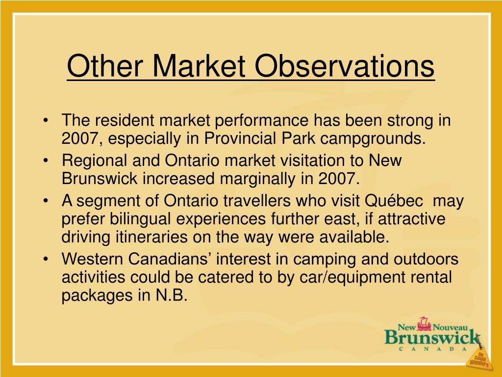 Other Market Observations