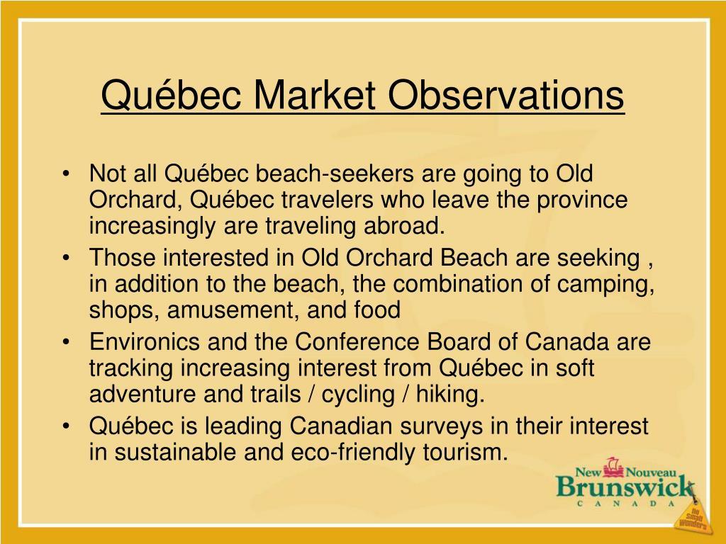 Québec Market Observations