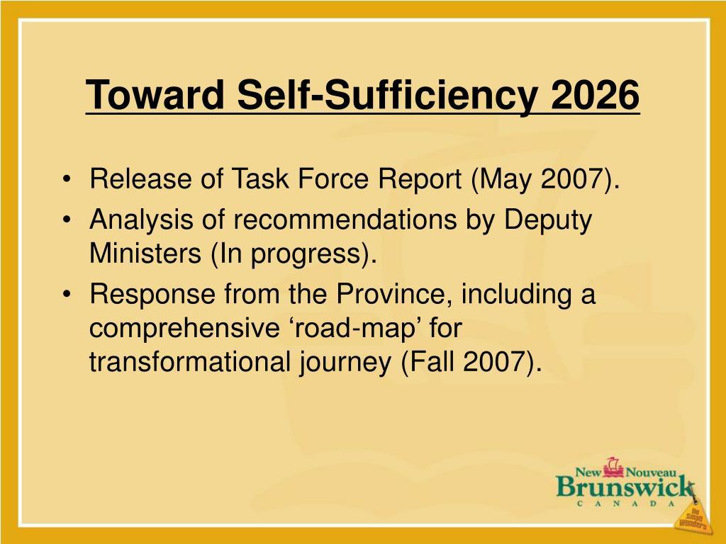 Toward Self-Sufficiency 2026