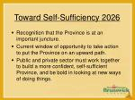 toward self sufficiency 202617