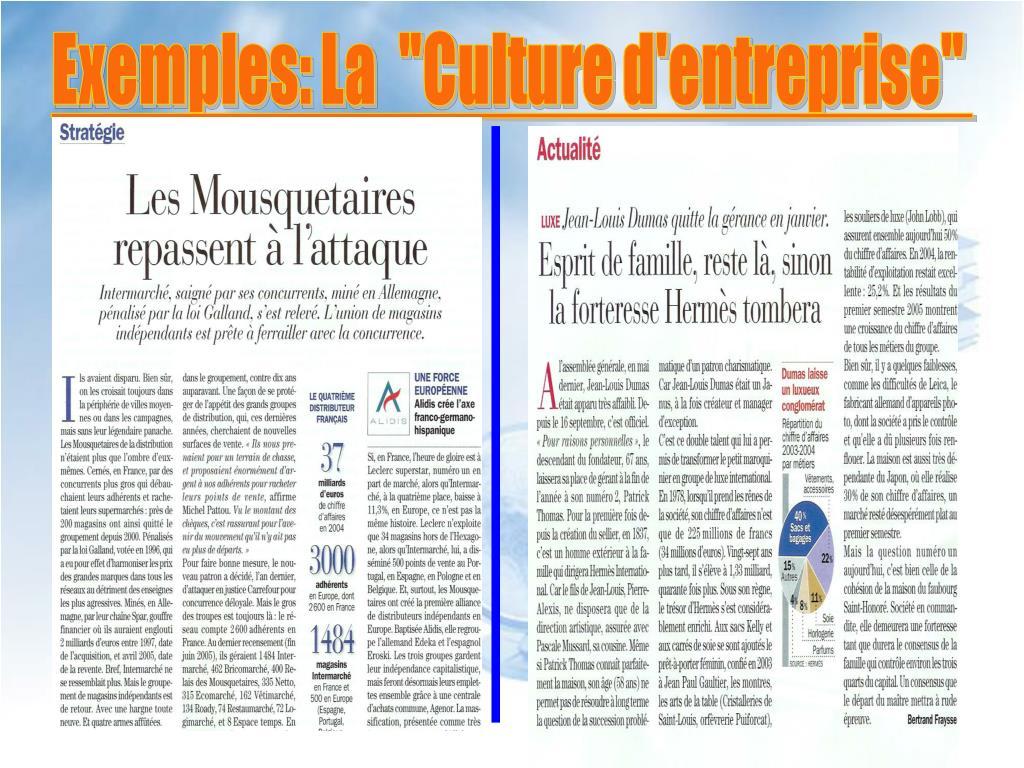 """Exemples: La  """"Culture d'entreprise"""""""