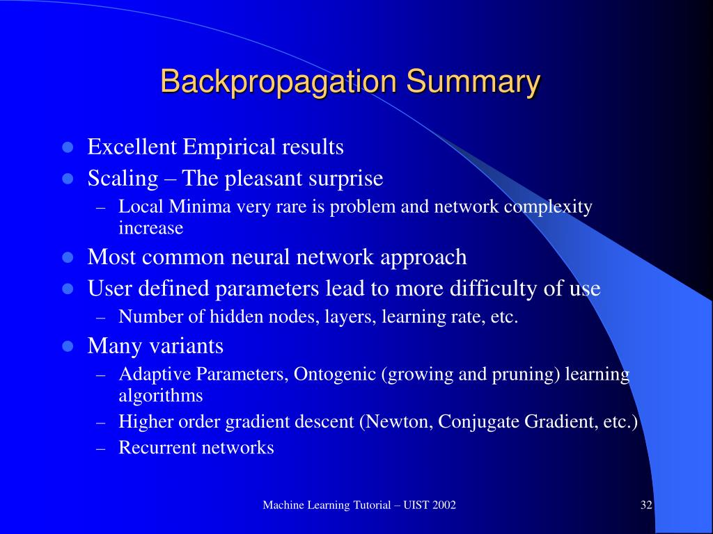 Backpropagation Summary